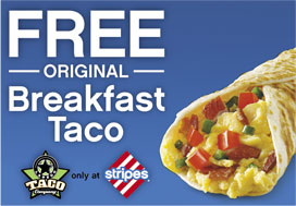 FREE Breakfast Taco at Stripes Stores