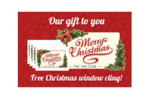 FREE Merry Christmas Window Cling from The 700 Club