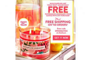 FREE 3-Wick Candle w/ Purchase at Bath & Body Works (Online Only)
