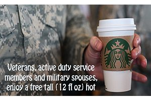 FREE Starbucks Tall Hot Brewed Coffee for Veterans and Military on November 11th